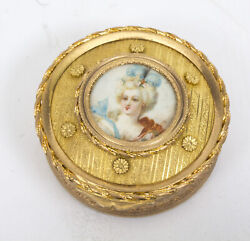Antique French Gilt Bronze Jewellery Casket And Miniature C.1880