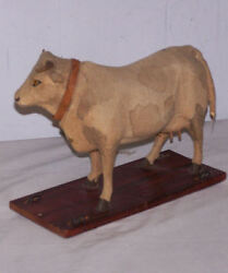 Victorian Early Pull Toy Cow On Platform With Wheels Dated 1904