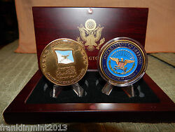 General John Shali And Dept. Of Defense 2 Set Of Challenge Coin's In A Wood Box