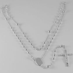 18k White Gold Rosary Necklace Miraculous Mary Medal And Jesus Cross Italy Made
