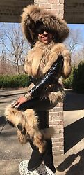 Designer Sable brown color Finnish Raccoon Fur tails Vest coat Jacket S-M 2-8