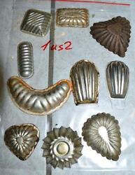Antique German Small Tin Vintage Candy Molds/ Tart Molds 1us2
