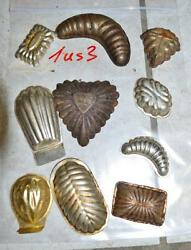 Antique German Small Tin Vintage Candy Molds/ Tart Molds 1us3