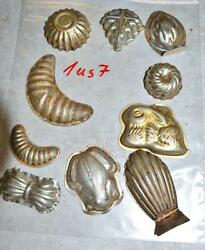 Antique German Small Tin Vintage Candy Molds/ Tart Molds 1us7