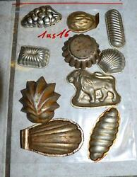 Antique German Small Tin Vintage Candy Molds/ Tart Molds 1us16