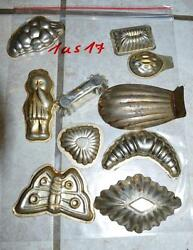 Antique German Small Tin Vintage Candy Molds/ Tart Molds 1us17