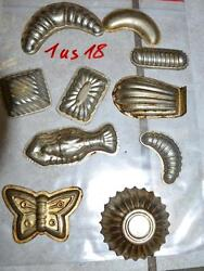 Antique German Small Tin Vintage Candy Molds/ Tart Molds 1us18