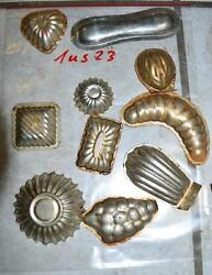 Antique German Small Tin Vintage Candy Molds/ Tart Molds 1us23
