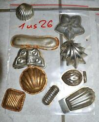 Antique German Small Tin Vintage Candy Molds/ Tart Molds 1us26