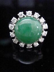 Art Deco French 18ct Natural Jade And Diamond Ring