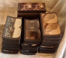 360 Antique Stereoview Cards And Viewer Palestine Yellowstone Africa Japan Boxes G