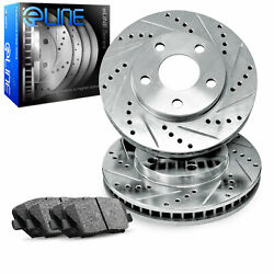 For 2004 Ford F-150 Heritage Front eLine Drill Slot Brake Rotors+Ceramic Pads