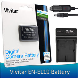 Vivitar EN-EL19 Battery / Charger for Nikon Coolpix S33 S2900 S3700 S7000