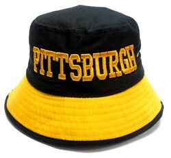 Pittsburgh City Black Bucket Golf Fishing Sun Hat Cap Embroidered Text Logo $12.99