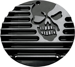 Covingtons Gloss Black Machine Head Cnc Machined Derby Cover Harley Twin Cam 99-