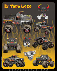 Dcor 40-90-206 Monster Jam Decal Sheets Graphic - Style El Toro Loco Blk