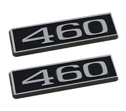460 Ford Mustang 3.25 Engine Hood Scoop Emblems Badges Pair Black And Chrome