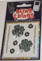 4 Leaf Clover Crystal Cell Phone Bling Thing Iphone Sticker Ipod Decal Bbs038