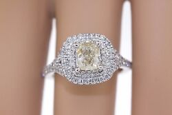 18k White Gold 2.33ctw Fancy Yellow Cushion And Round Diamond Double Halo Ring