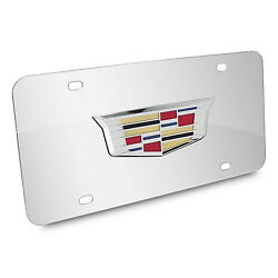 Cadillac New Crest 3d Logo On Chrome Stainless Steel Metal License Plate