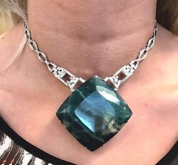 New Chistick's Custom Huge 560 ct Grandidierite 3+ ct diamond Platinum necklace