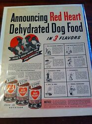 Vintage 1942 Red Heart Dehydrated Dog Food Boston Terrier Puppies Print ad