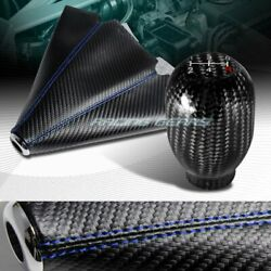 Carbon Look Pvc Manual Blue Stitch Shift Boot+real Carbon 5-speed Shifter Knob