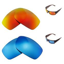 Walleva Polarized Fire Red+Ice Blue Replacement Lenses For Maui Jim World Cup