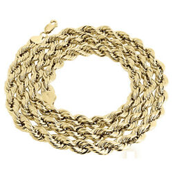 Real 10k Yellow Gold Solid Rope Chain 7mm Shiny Twist Necklace 22-30 Inches