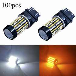 100PCS 120-SMD 3157 4157NA LED Switchback White Yellow Turn Signal Light Bulb