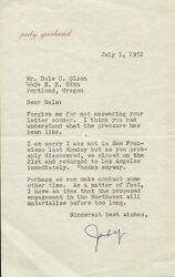 JUDY GARLAND - TYPED LETTER SIGNED 07/01/1952