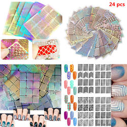 3D 24 Sheets Nail Art Transfer Stickers Manicure Tips Decal DIY Decorations Tool