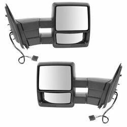 Tow Mirror Power Heated Textured Black Pair Set For 98-02 Ford Expedition New