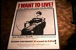I Want To Live Advance Orig Movie Poster1958 Woman In Electric Chair Super Rare