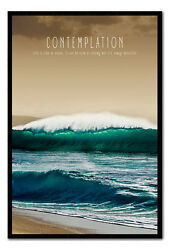 Contemplation Motivational Quote Poster Framed Cork Pin Board With Pins