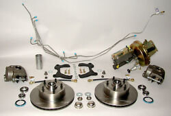 1956 1957 Chevrolet Front Disc Brake Conversion Kit, Power Stainless Steel Lines