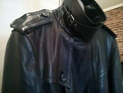 Purple Label Calfskin Leather Trench Coat Black Made In Italy 36 S
