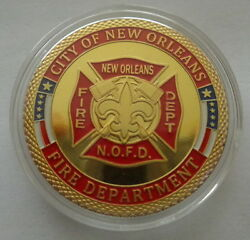 City Of New Orleans Fire Department 24k Gold Plated 40 Mm Challenge Coin