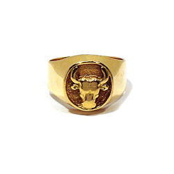 Solid 18k Yellow Gold Southwestern Steer Head Ring Size 9 1/4