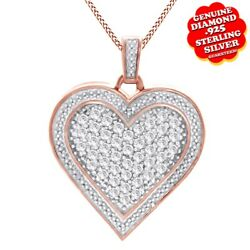 1.00CT White Real Diamond 14K Rose Gold Over Heart Pendan Valentine Gifts