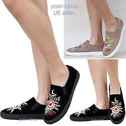 New Women Fdr71 Floral Flower Embroidered Low Top Sneakers Slip On Size 6 To 10