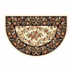 46x31 Floral Half Round Fire Resistant Fireplace Hearth Rug Carpet