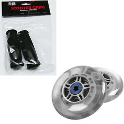 Clear Replacement Razor Scooter Wheels Abec 7 Bearings Black Grips