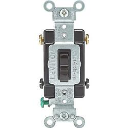 20 Pk Leviton Brown 15a Grounded Quiet 4-way Toggle Light Switch 014-54504-002