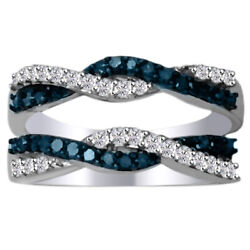 1/2 Ct Wave Solitaire Enhancer Blue Diamonds 10k White Gold Ring Guard Wrap Band