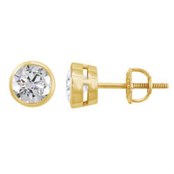 0.50 Ct Round Natural Diamond 14k Yellow Gold Stud Earrings With Screwback
