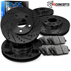 BLACK ELINE[FULL KIT] DRILLED SLOTTED BRAKE ROTORS & CERAMIC BRAKE PADS A842