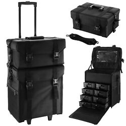 2 in 1 Rolling Makeup Case Train Box Cosmetic Organizer Luggage Trolley Bag $147.95
