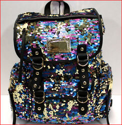Juicy Couture Designer PURPLE BLUE GOLD SEQUIN Large Backpack Purse Tote 🌟NEW🌟