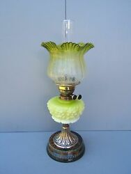 Oil Lamp Brass Vintage Duplex Green/yellow Shade And Font Beautiful Working Ol2